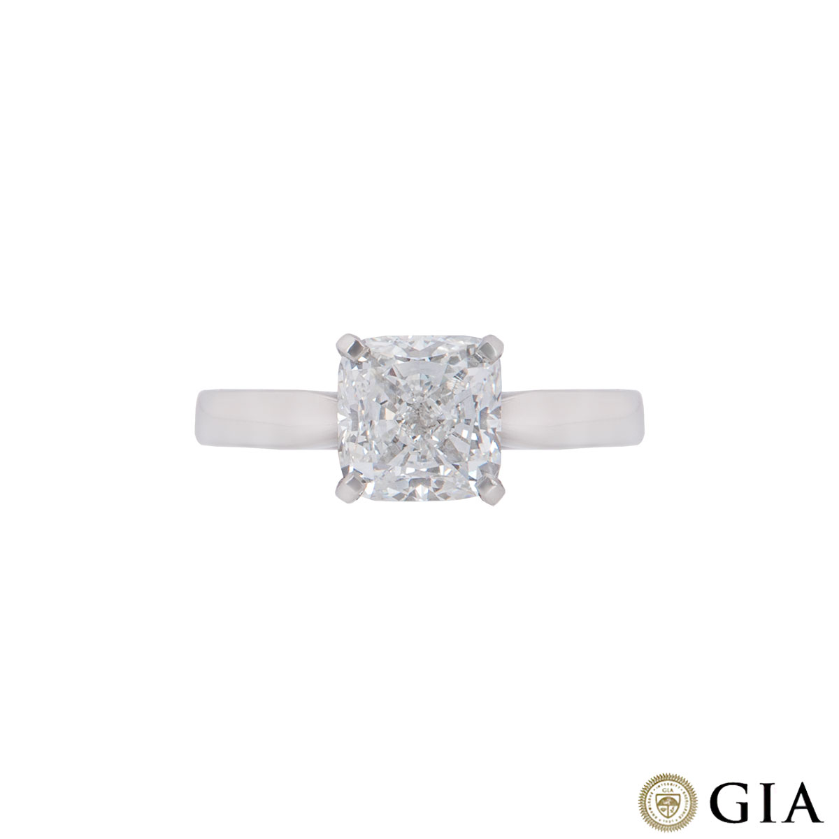 Platinum Cushion Cut Diamond Ring 2.07ct H/VVS2